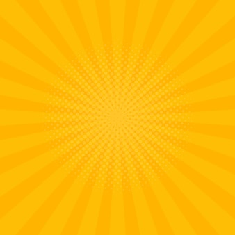 Sfondo raggi giallo brillante. fumetti, stile pop art. illustrazione vettoriale.