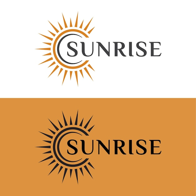 Sole o alba illuminante, tramonto bagliore luce brillante brillante design del logo per il tuo marchio aziendale
