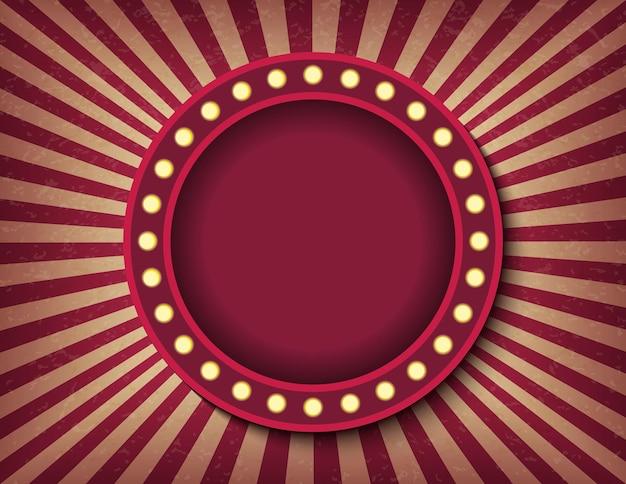 Insegna al neon del cinema retrò cerchio brillantemente incandescente. modello di banner orizzontale di spettacolo in stile circo. immagine del poster di sfondo vettoriale