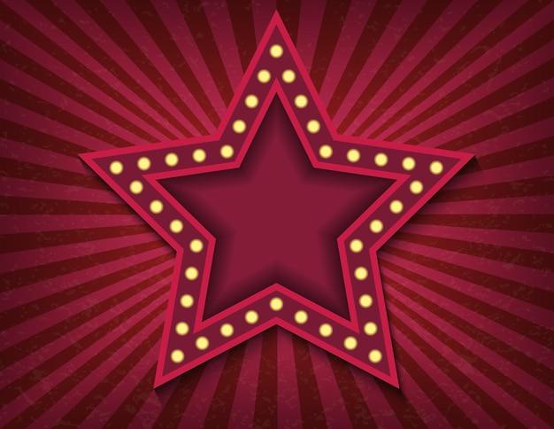 Insegna al neon retrò stella brillantemente incandescente.