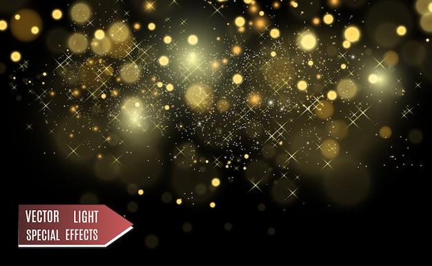 Brillante splendore di polvere d'oro. ornamenti lucidi scintillanti per lo sfondo. illustrazione.