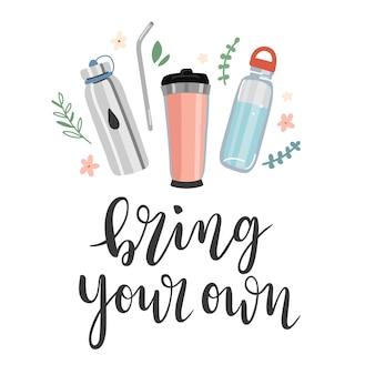 Porta le tue lettere con illustrazioni di bottiglie e tazze riutilizzabili
