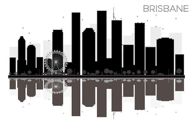 Siluetta in bianco e nero dell'orizzonte della città di brisbane con le riflessioni. illustrazione vettoriale. semplice concetto piatto per presentazione turistica, banner, cartellone o sito web. paesaggio urbano con punti di riferimento.