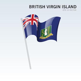 Bandiera delle isole vergini britanniche sventolante isolata su gray