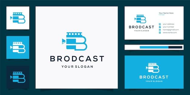 Design del logo broadcast film con iniziale b