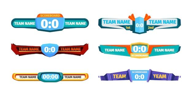 Banner del punteggio di trasmissione. rispetto al modello di interfaccia utente dei giocatori di calcio