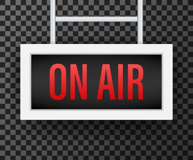 Studio di radiodiffusione sulla luce aerea. cartello radio e televisione.