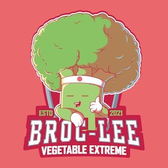 Broc lee character illustrazione. verdure, sano, concetto di design sportivo.