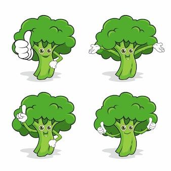 Broccoli mascotte carattere kawaii illustrazioni