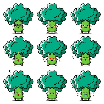 Personaggio dei cartoni animati di verdure broccoli.