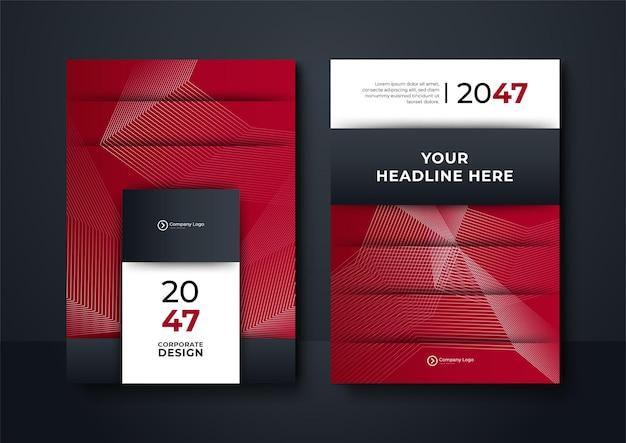 Modello di copertina dell'opuscolo con moderna grafica geometrica ondulata. sfondo geometrico rosso e blu poster brochure flyer design layout modello vettoriale in formato a4