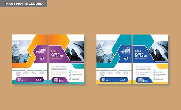 Brochure design copertina layout moderno poster relazione annuale volantino in a4 con forma geometrica colorata