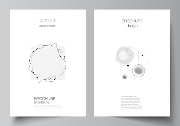 Layout volantino brochure, sfondo scientifico di colore nero