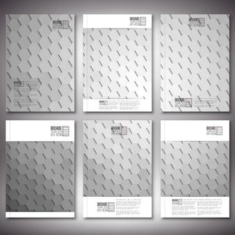 Modelli di brochure o flyer con design esagonale astratto