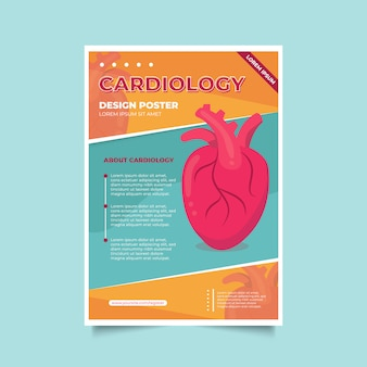 Brochure modello di volantino per poster di cardiologia medica