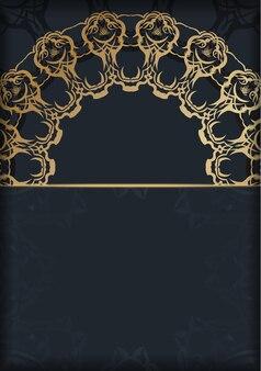 Modello di brochure in colore nero con motivo oro astratto preparato per la stampa.