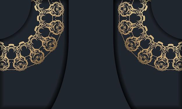 Modello di brochure in colore nero con ornamenti in oro antico pronto per la stampa.