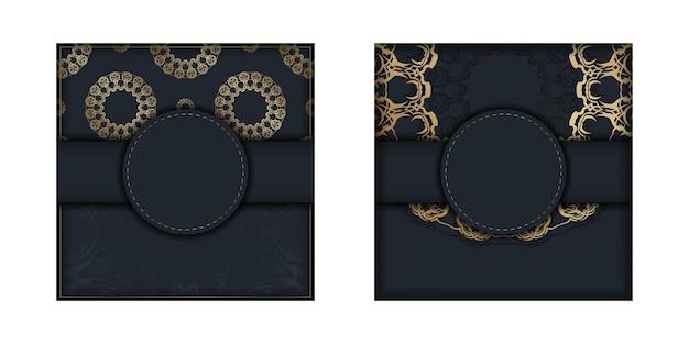 Il modello di brochure in colore nero con lussuose decorazioni dorate è pronto per la stampa.