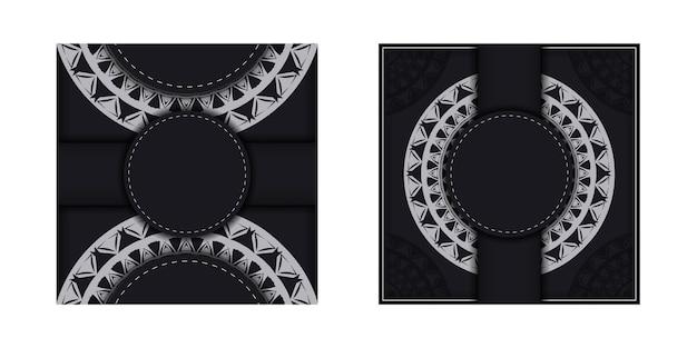 Modello di brochure colore nero con motivo mandala