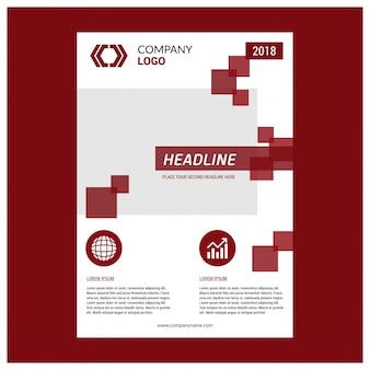 Disegno del layout del modello di opuscolo. rapporto annuale aziendale aziendale, catalogo, mockup periodico. layout con elementi moderni rossi. poster creativo, opuscolo, flyer o banner