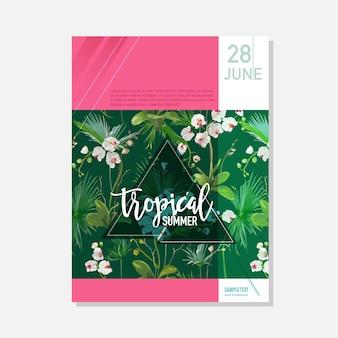 Modello dell'opuscolo. orchidea tropicale fiori estate sfondo grafico, banner floreale esotico, invito, volantino o carta. prima pagina moderna