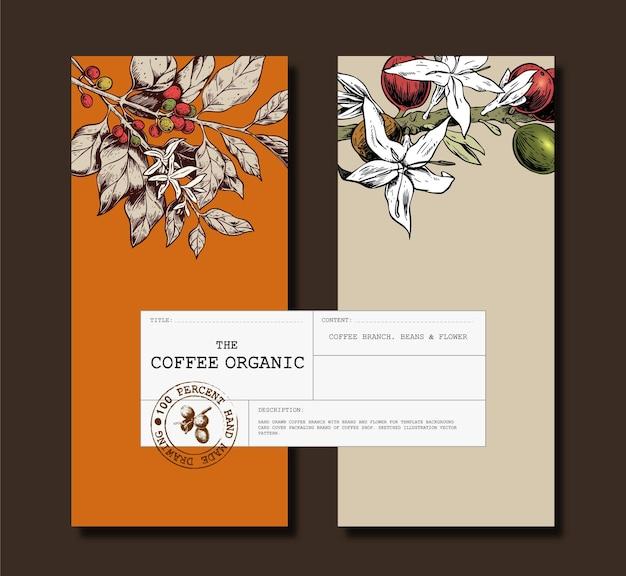 Modello di brochure con caffè e chicchi per marca di caffè in arancione e beige