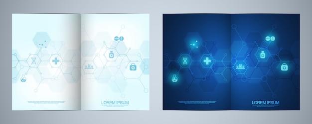 Modello di brochure con icone e simboli medici. concetto di tecnologia sanitaria, scienza e medicina.