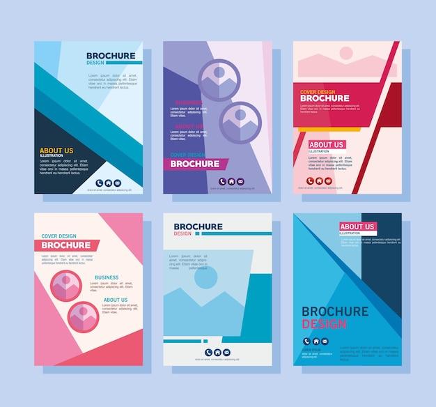 Raccolta di simboli di modelli di brochure