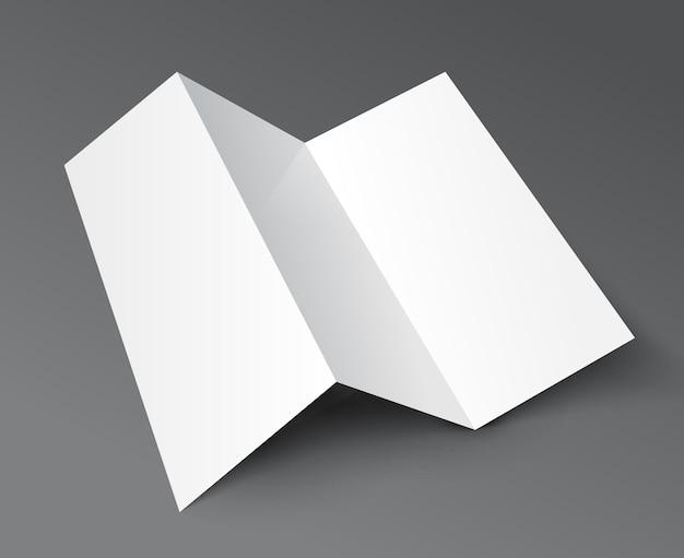 Modello di volantino vuoto a tre ante dell'opuscolo. modello di menu pieghevole pieghevole in carta per volantini.