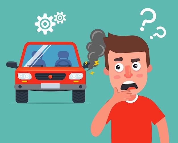 Illustrazione di automobile rotta