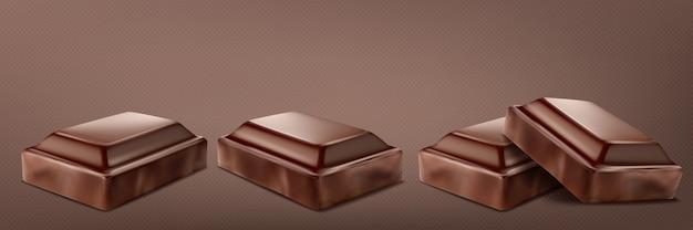 Set di barrette di cioccolato rotte isolato su sfondo trasparente.
