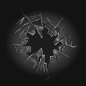 Vetro rotto. finestra incrinata.