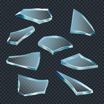 Vetro rotto. crash space frantumare cocci trasparenti astratte forme acute vettore modello realistico. illustrazione in frantumi di vetro, fragile rotto tagliente