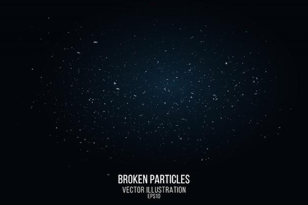 Effetto vetro rotto con piccole particelle isolate su sfondo nero. frammenti volanti e un bagliore blu. illustrazione vettoriale