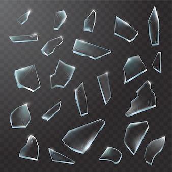 Pezzi di vetro rotto. vetro in frantumi su sfondo nero trasparente. illustrazione realistica