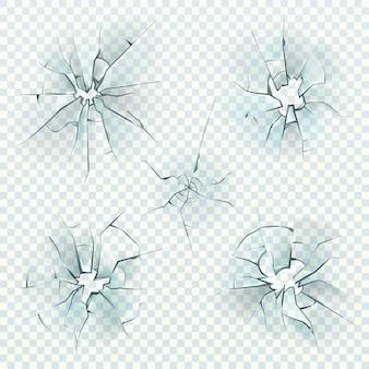 Vetro rotto. gli specchi deformanti frantumati incrinati realistici si rompono il ghiaccio, la finestra di schermo in frantumi, il foro di vetro del proiettile. struttura