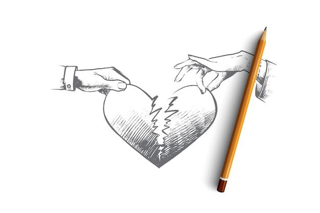 Illustrazione di concetto di cuore spezzato