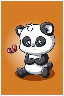 Disegno della mano dell'illustrazione del panda del cuore spezzato