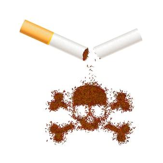 Sigaretta realistica rotta con foglie di tabacco nel segno del cranio. il fumo uccide l'illustrazione di concetto su bianco.