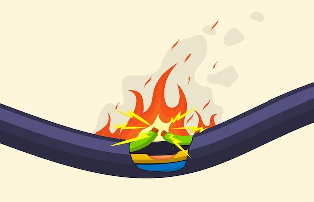 Cortocircuito rotto che brucia il cavo del cavo elettrico. cavo elettrico danneggiato nell'insieme dell'illustrazione di vettore della fiamma rossa. bruciare i fili del cavo elettrico