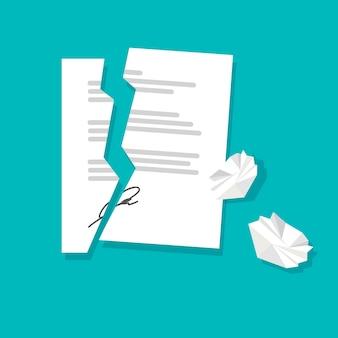 Contratto rotto o strappato e fogli di carta accartocciati risoluzione del contratto annullamento della partnership