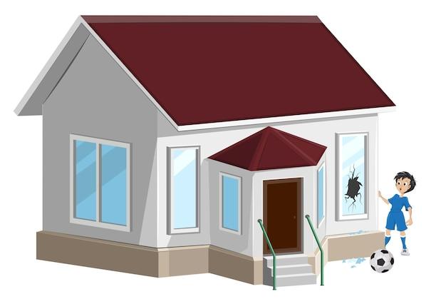 Finestra rotta. la sfera del giocatore di calcio del ragazzo ha rotto la finestra. assicurazione sulla casa.