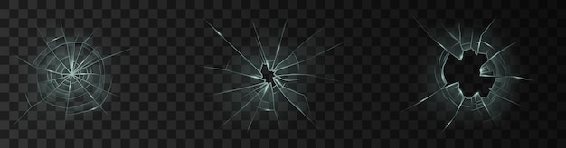 Vetro della finestra rotto o vetro trasparente realistico del foro incrinato della porta isolato su fondo scuro. set di superfici in vetro schiantato 3d. illustrazione vettoriale
