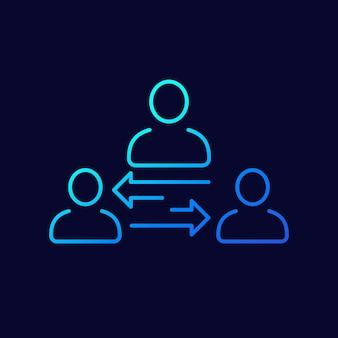 Icona della linea di broker o mediatore, vettore