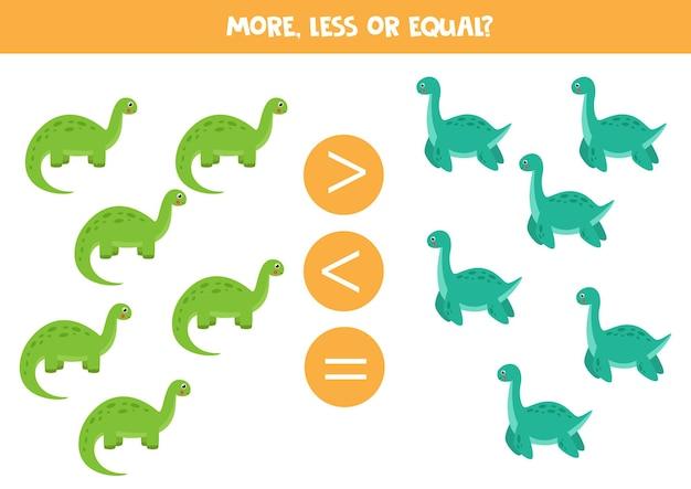 Brontosauro e plesiosauro gioco di matematica educativo per bambini