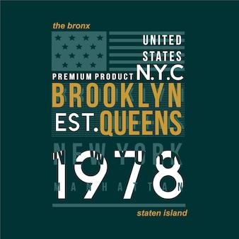 La tipografia del design della maglietta grafica bronx new york