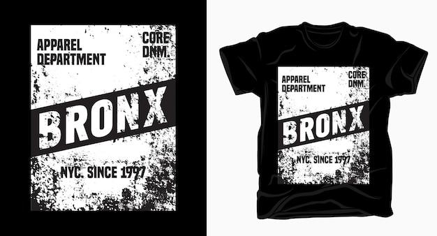 Design tipografico bronx con texture per t-shirt