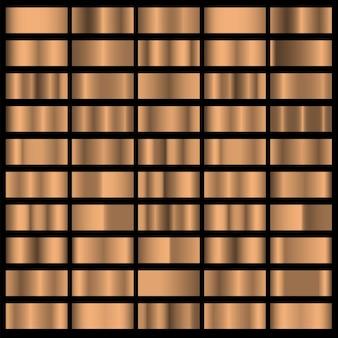 Set di sfondi di gradazione di trama orizzontale in lamina di bronzo. collezione vettoriale di collezione sfumata metallica lucida per bordo, cornice, nastro, etichetta