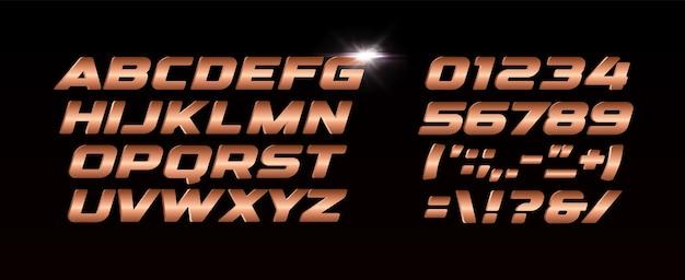 Set di lettere e numeri in bronzo. alfabeto latino di vettore di stile di struttura di gradiente del metallo. progettazione di tipografia.