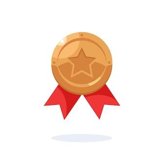 Medaglia di bronzo con nastro rosso, stella per il terzo posto. trofeo, premio vincitore isolato su sfondo blu. icona del distintivo. sport, successo aziendale, concetto di vittoria. design piatto vettoriale